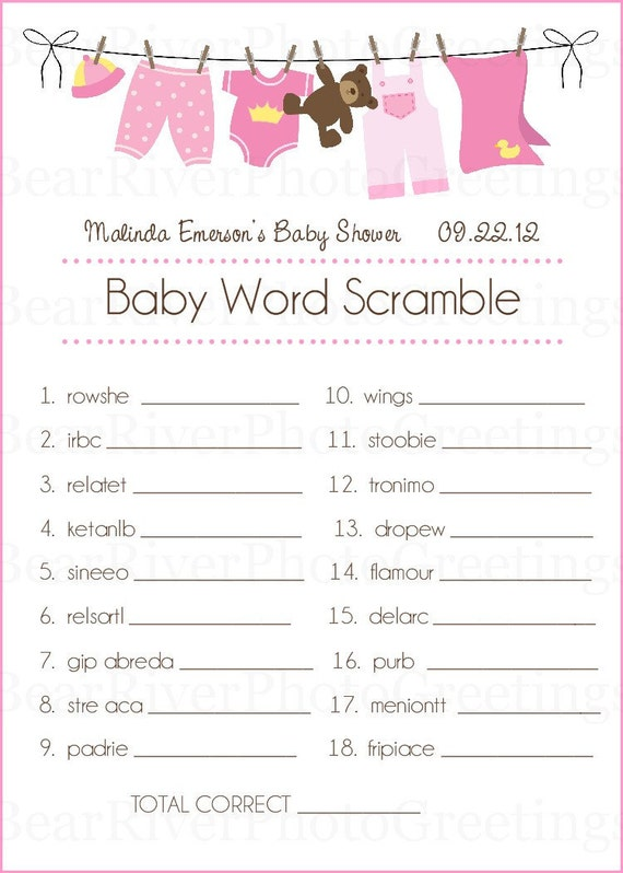 baby shower game cards baby word scramble set of 20 printed 5x7