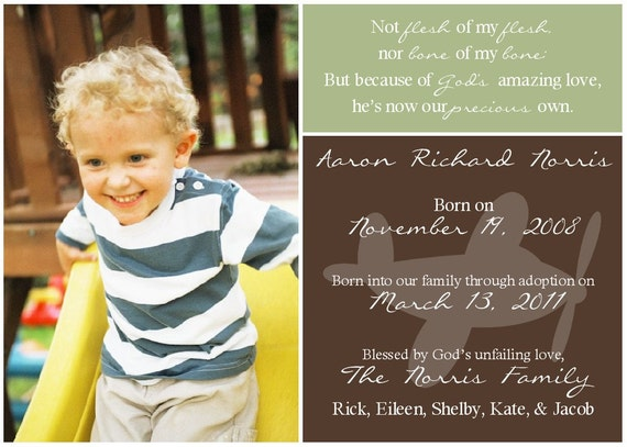 Adoption Announcement for Boy -- Printable Digital 5x7 File