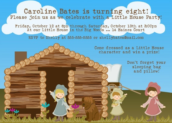 Little House on the Prairie Birthday Invitation -- Printable Digital File