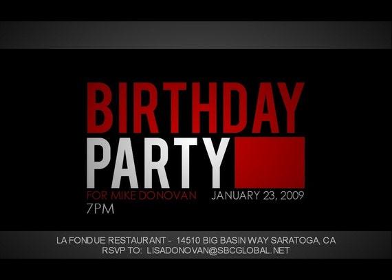 Criminal Minds Birthday Invitation -- 5x7 You Print
