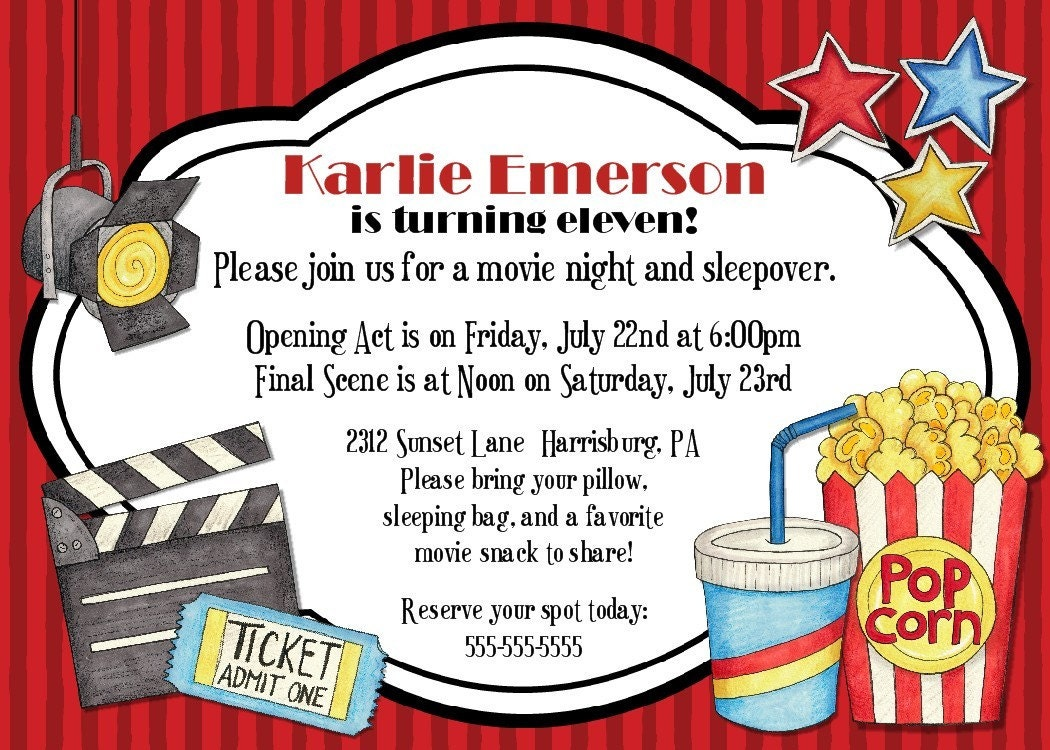 Dynamic image intended for movie night invitations free printable