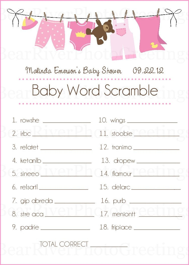 baby shower game cards baby word scramble set of 20