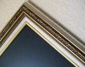 FRAMED CHALKBOARD-Kitchen Chalkboard-Ivory & Gold Vintage Ornate Baroque Frame Magnetic Chalkboard-Magnet Board-Weddings-Office Organizer