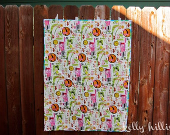 Baby Girl Boy Crib Quilt  - Playmat - Car Quilt - Stroller - Whole-Cloth - Hand Quilted - Road Trippin' - Retro Flowers