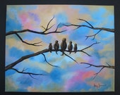 Motherhood, 16 x 20, Original Acrylic Painting of Birds on Branches under a Serene Sky