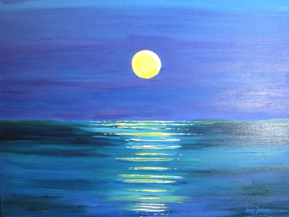 Intense Moonlight 16 x 20 Original Modern Acrylic Painting by artist Stacey Zimmerman