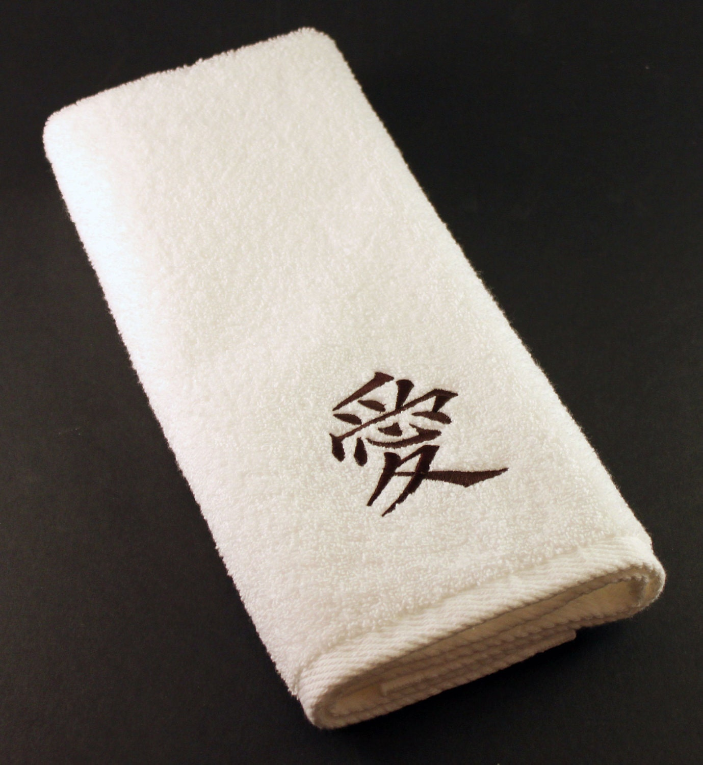 Embroidered Terry Cloth Hand Towels: Kanji Embroidered Terry Hand Towel