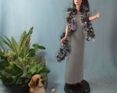 Silver Elegance gown and boa for Silkstone Barbie - FREE Shipping