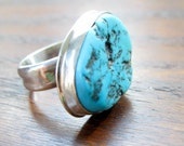 PEACE and HARMONY Ring  -  Turquoise and Silver  -  Size 7.5