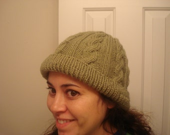 Hand knit cabled hat