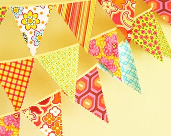 Mini pennant fabric banner - bunting in yellow, pink, orange and a touch of aqua -- childrens decor, party decor or photo prop
