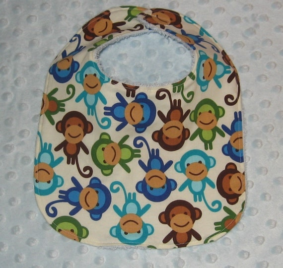 Baby Bib - Playful Monkeys in Blue, Green and Brown with Soft Terry Backing