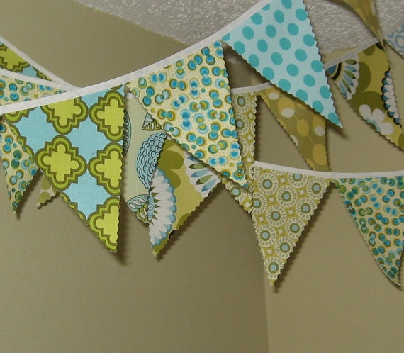 Mini pennant fabric banner - bunting in blues and greens -- childrens decor, party decor or photo prop