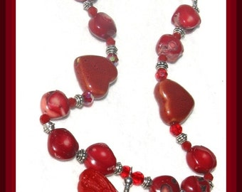 Sale RED CORAL Necklace with Hand Carved Cinnabar BUTTERFLY Pendant