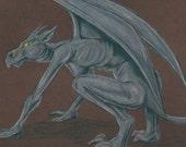 Female Gargoyle, 8.5 X 11 inch original drawing