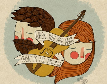 Music Is All Around - Illustration Print