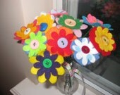 Felt Flower Bouquet--In the Garden, Colorful Mixed Flowers--valentine's day, happy birthday, happy anniversary, houswarming gift