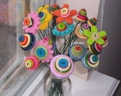 Happy Day Colorful Felt Flower and Button Bouquet--teacher appreciation, thank you, birthday, anniversary, get well, housewarming gift