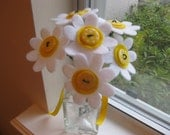 CUSTOM ORDER for AmyRose--, Please Don't Eat the Daisies--white, yellow felt flowers