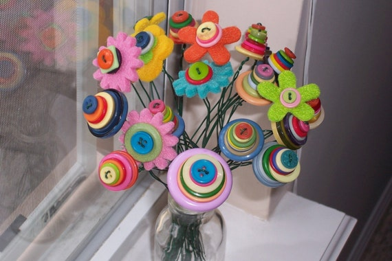 Happy Day Colorful Felt Flower and Button Bouquet--valentine's day, birthdays, get well, anniversaries, teacher appreciation, graduation