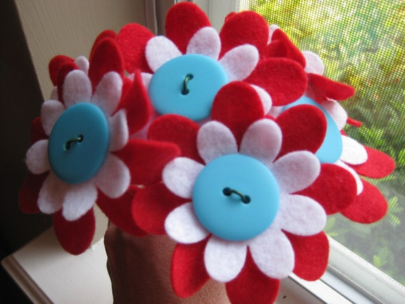Felt Flower Bouquet--The Cat in the Hat--Dr. Seuss--red, aqua, and white--READY TO SHIP