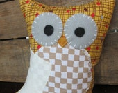 Handmade Taupe Plush Owl - Ready to Ship