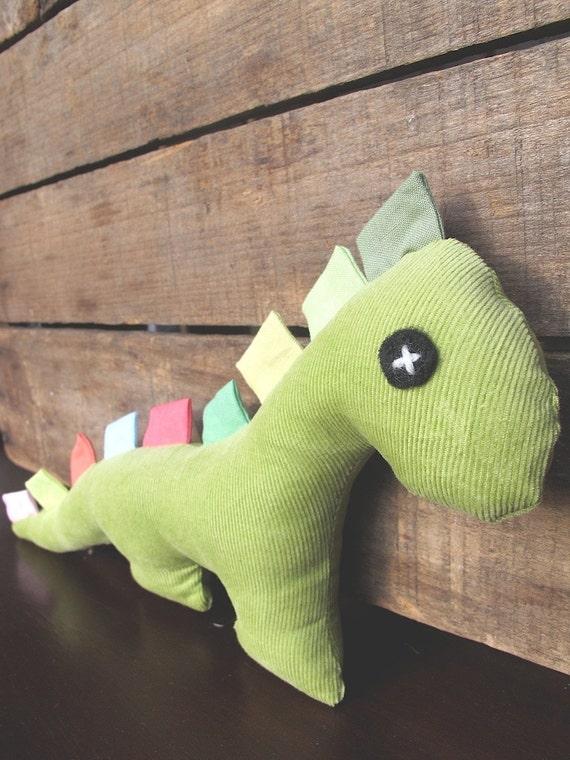 Handmade Plush Corduroy Dinosaur with Fabric Tags - Celery Green. Ready to Ship.