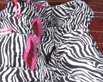 Shopping Cart cover, high chair cover, READY TO SHIP Black and white Zebra with hot pink for girl with pocket and pillow