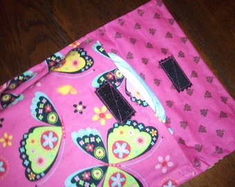 Diaper clutch, diaper and wipes case, pink and black butterfly,