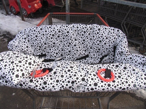 Double Shopping Cart Cover, for double or twin cart with 4 holes,you pick fabric for boy or girl