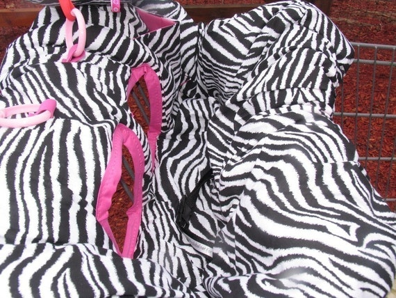 Shopping Cart cover, high chair cover, Black and white Zebra with hot pink for girl with pocket and pillow