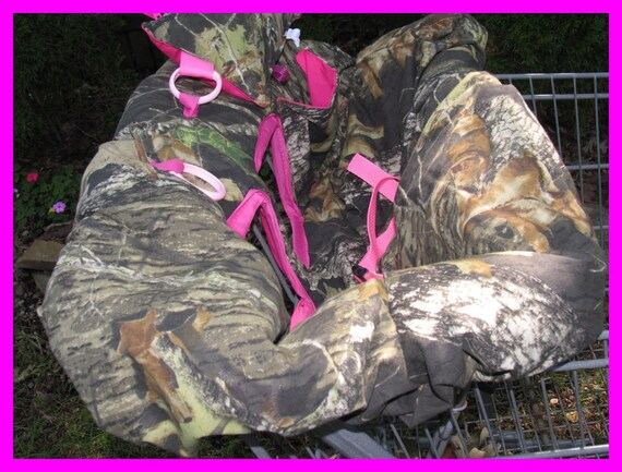 Shopping Cart cover, high chair cover, Mossy Oak camouflage camo with hot pink, pillow pocket