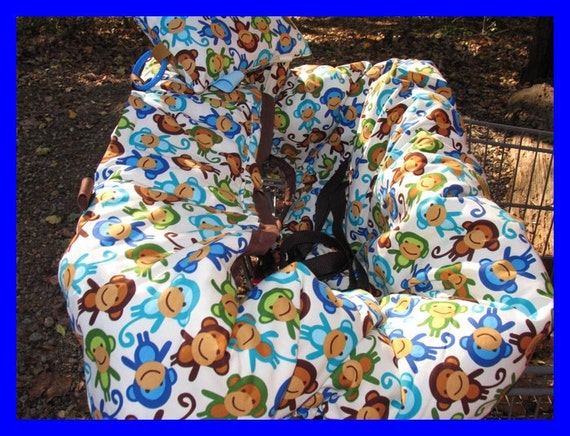 Shopping Cart Cover and High Chair Cover in Urban Zoology Monkeys