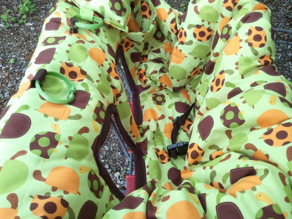 Shopping Cart cover, high chair cover, READY TO SHIP  urban zoo turtles