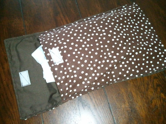 Diaper clutch, diaper and wipes case, chocolate brown and white dots