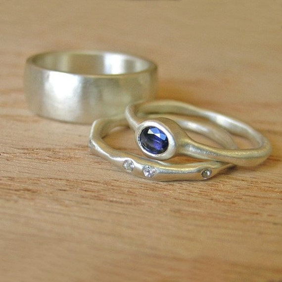White Moissanite and Blue Chatham Created Sapphire Set