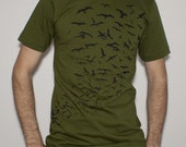 Bird Flock Tee -Mens and Womens American Apparel Olive S/M/L/XL