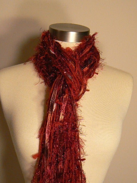 FREE SHIPPING when you purchase 2 or more scarves -The Vixen Fringe Scarf in Shades of Garnet, Red and Burgundy