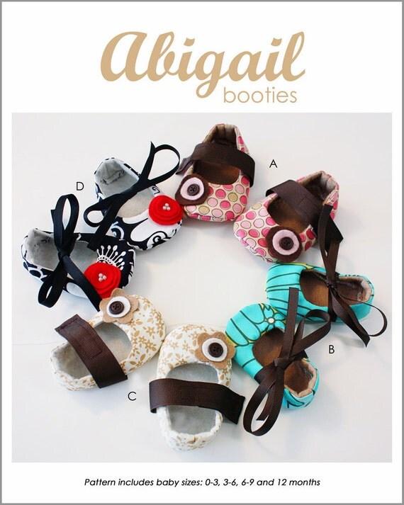 Abigail Baby Booties - PDF sewing pattern