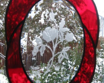 Red Rose Etched Oval Stained Glass Suncatcher or Window Decoration