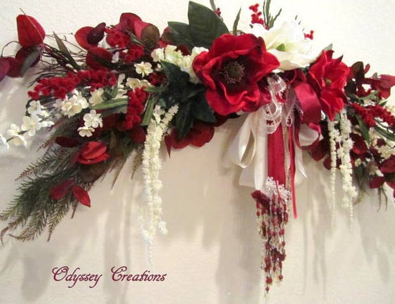 Elegant Victorian Silk Floral Over-The-Door Swag Magnolia in Burgundy and Ivory with pearl and beaded accents