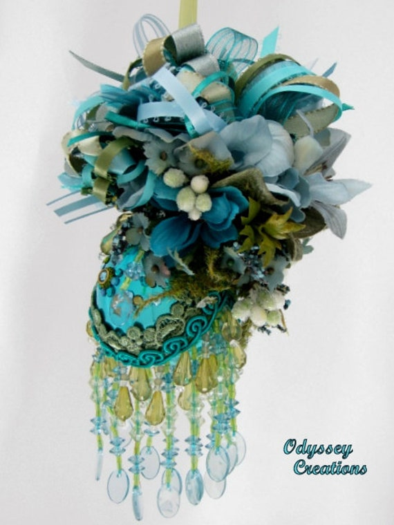 Victorian Christmas or Bridal Ornament in Seaside Aqua, Green and Turquoise Peacock colors