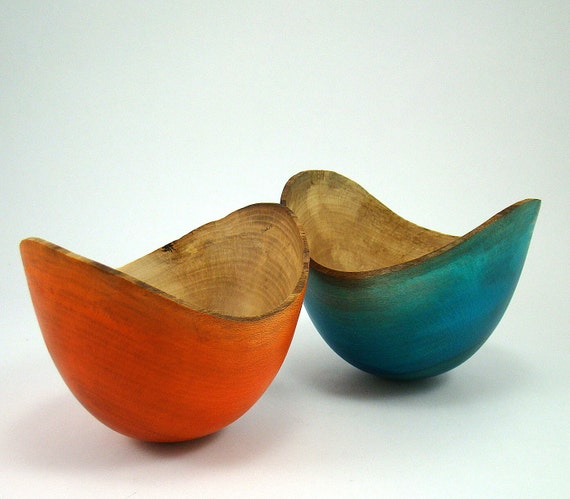 Beautiful Blue and October Orange VI - Sycamore Bowls