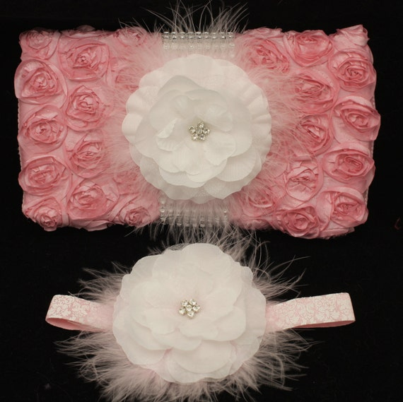 Baby Shower Gift Set Diaper Wipe Case PLUS matching headband Pink and White Rosette