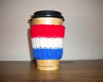 Red, White and Blue Coffee Cozy