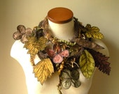 Long and Leafy Scarf with Embroidered Leaves- Brown with Fern Green and Sienna Berries