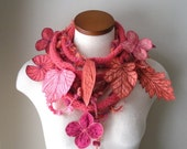 Long and Leafy Scarf with Embroidered Leaves- Bright Salmon with Orange, Thulian Pink, and Red-Violet Berries