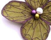 Botanical Hair Pin- Your Choice of Hair Clip, Bobby Pin, or Brooch- Olive Green with Purple Embroidery