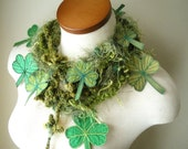 RESERVED- Shamrock Scarflette- Mossy Green with Kelley Green Berries