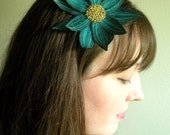 Lotus Flower Headband- Teal Green with Light Turquoise and Darkest Teal Embroidery- Embroidered and Beaded Lily Flower Headband